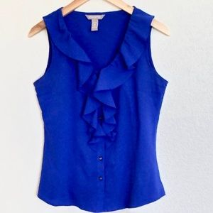 Banana Republic Blue Sleeveless Ruffle Blouse MP
